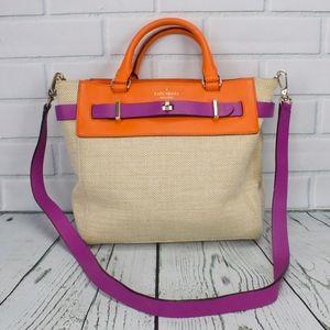 Kate Spade Tan Orange Purple Handbag Shoulder Bag